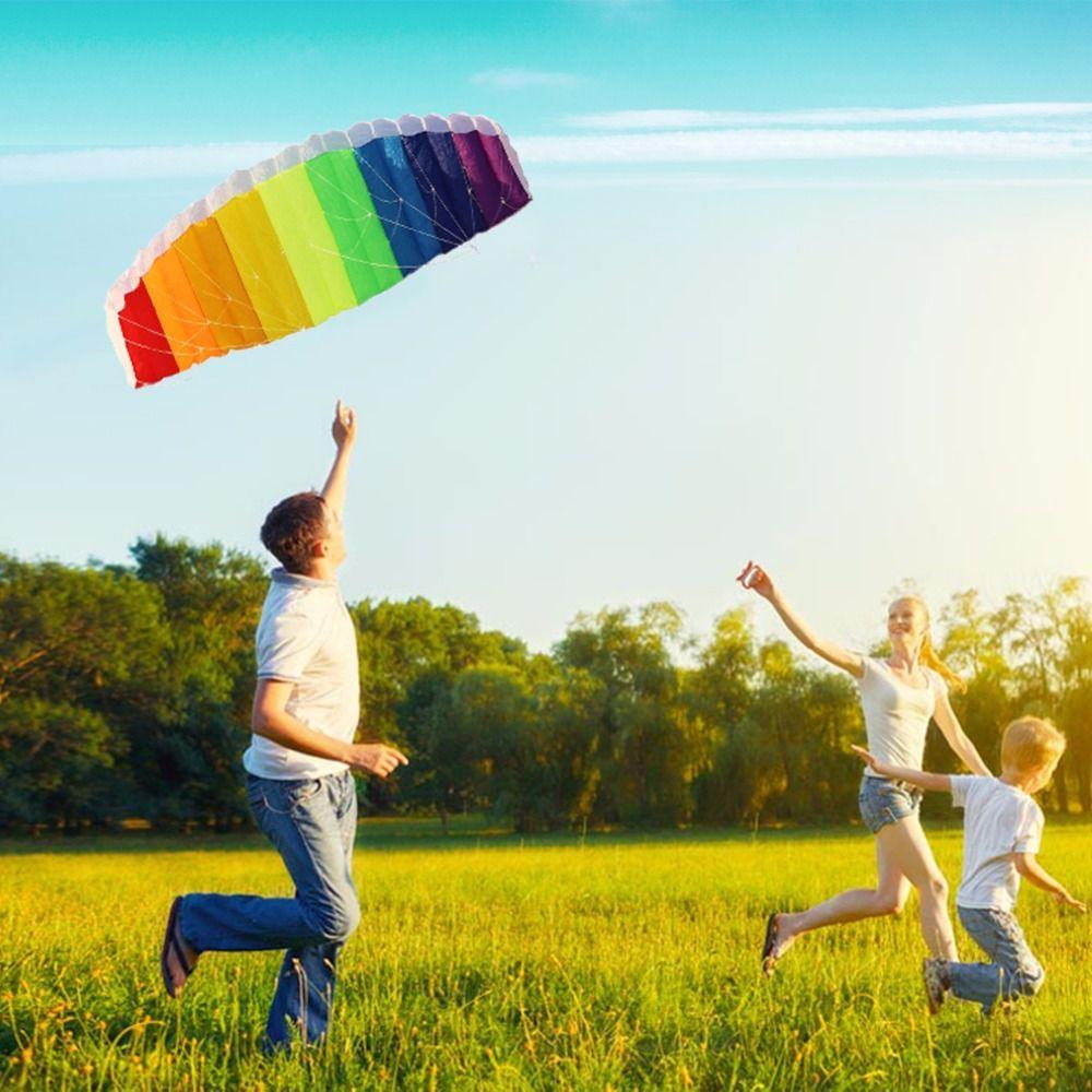 Arc-en-ciel Puissance Double Ligne Parachute Cerf-Volant avec 2 pièces 30 m Volant En Nylon et Sac De Transport Enfants Plage Sport En Plein Air Jouer Jouets
