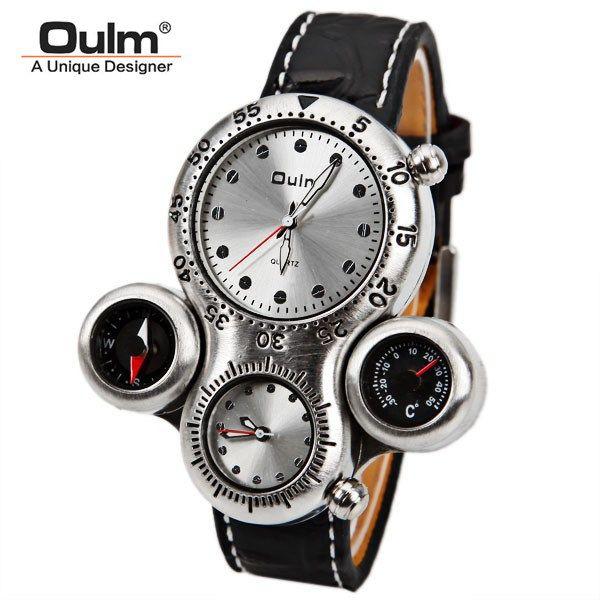 Oulm hommes de marque militaire montre avec double mouvement boussole et thermomètre fonction cadran brun bracelet en cuir sport montres