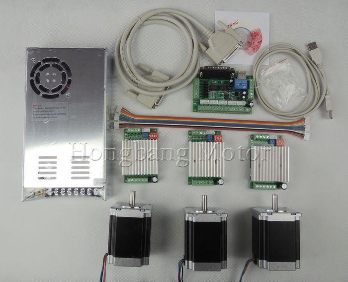CNC Router Kit 3 Achsen, 3 stücke tb6600 4.5A schrittmotor-treiber + 3 stücke Nema23 270 Unzen-in motor + 5 achse schnittstelle bord + netzteil