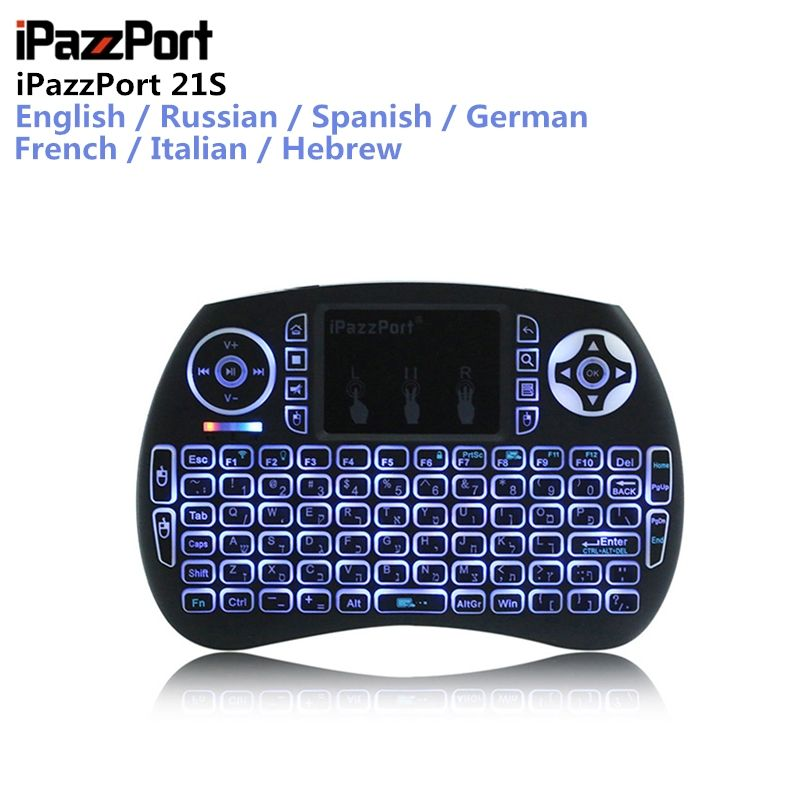 IPazzPort 21S mini keyboard 2.4GHz Wireless Mini USB Keyboard Backlight Function With Touchpad Support Multi Languages