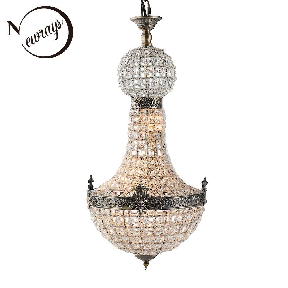 Vintage Royal Empire Glas Kristall LED Moderne Europa Kronleuchter Lampe Lüster Lichter G9 Für wohnzimmer schlafzimmer küche cafe shop