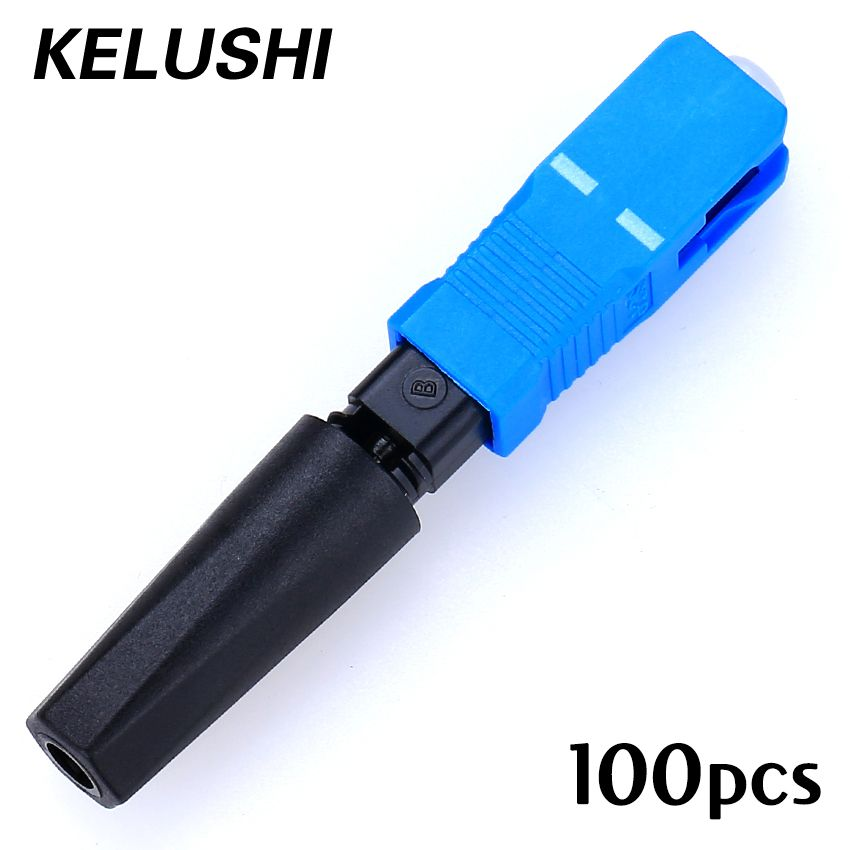 100pcs Free shipping Ftth Embedded Type SC Cold Drop Fiber Cable Connector Fast Connector SC Quick Assembly Connector KELUSHI