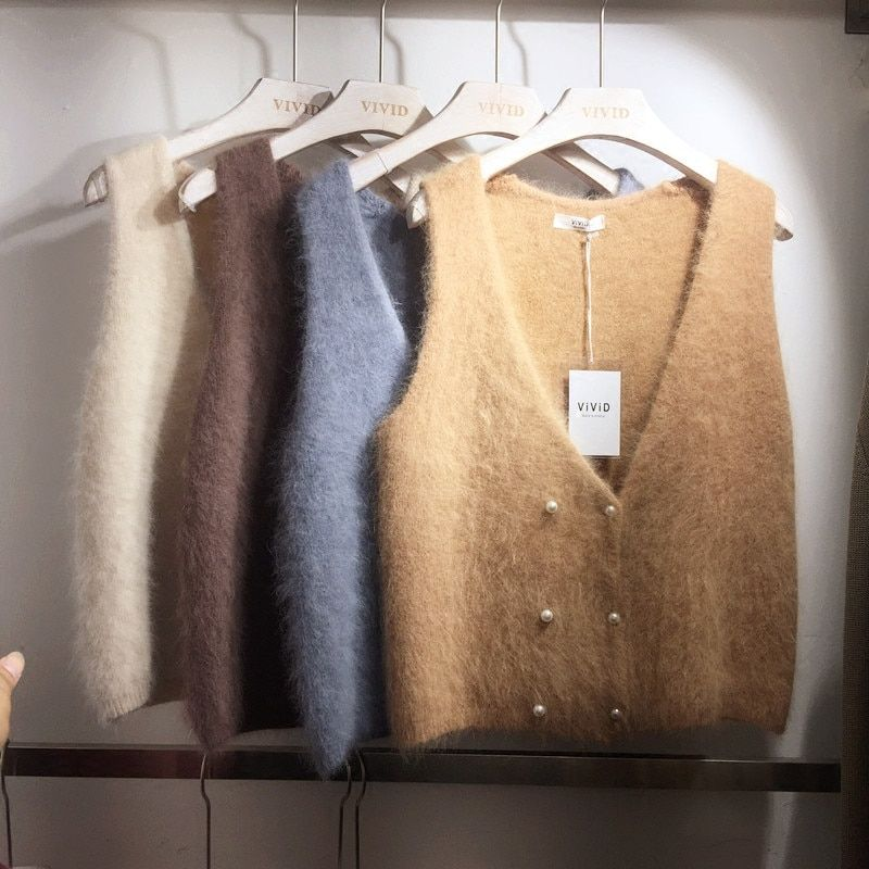 Female Mink Wool Blend Pearl Double Breasted Knit Vests Women Retro Sleeveless Vest Knitted Autumn New All-match Sweater Coat