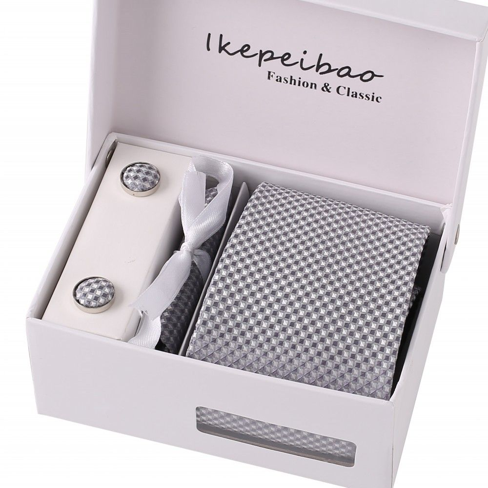 Ikepeibao Mens Wide Formal Ties Necktie Sets Cufflink Hanky Clips Custom Check Gravata Colar Pasta Ties for Business Silver Gray