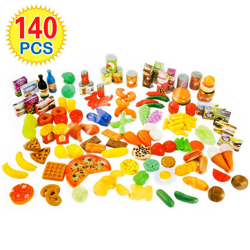 140Pcs Kids Cutting Fruits Vegetables Pretend <font><b>Play</b></font> Kitchen Toys Miniature Safety Food Sets Educational Classic Toy for Children