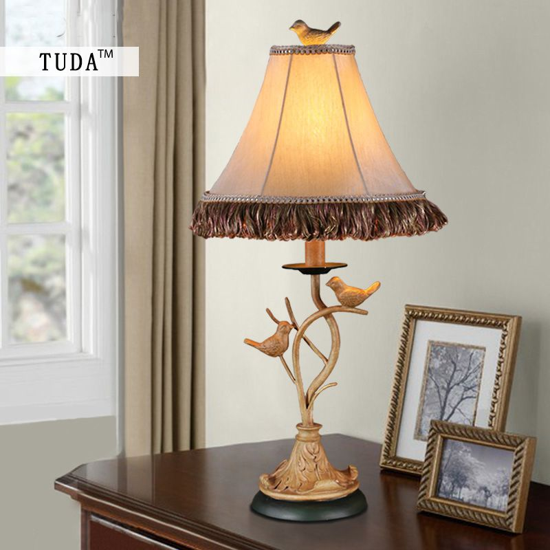 TUDA 28X61cm Free Shipping American Style Retro Table Lamp Bird Figurine Vintage Table Lamp For Bedroom Table Lamp E27 110V-220V
