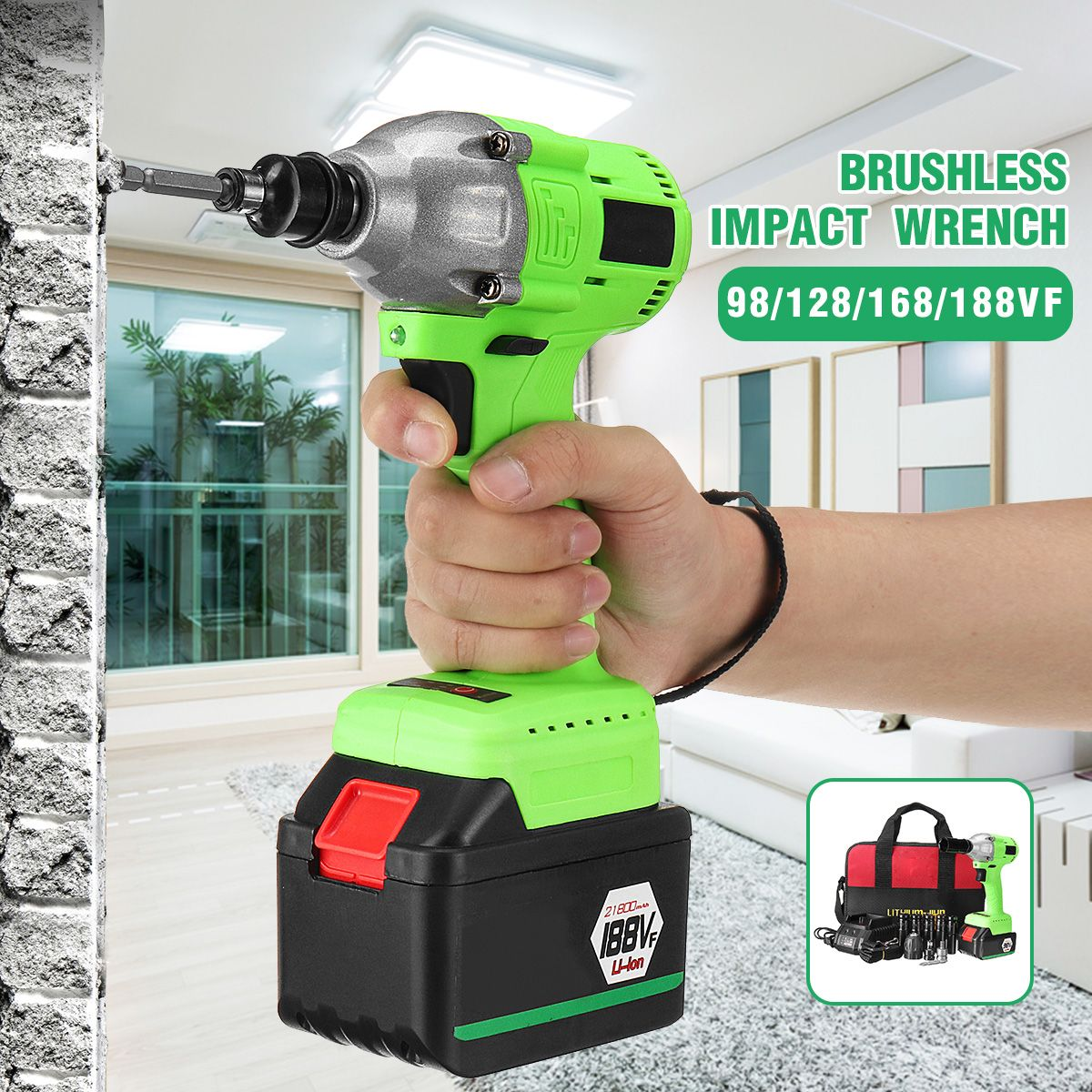 460Nm Electric Impact Wrench 3300RPM Rechargeable Li-Ion Battery Electric Brushless Wrench Cordless Home Hand Power Tool