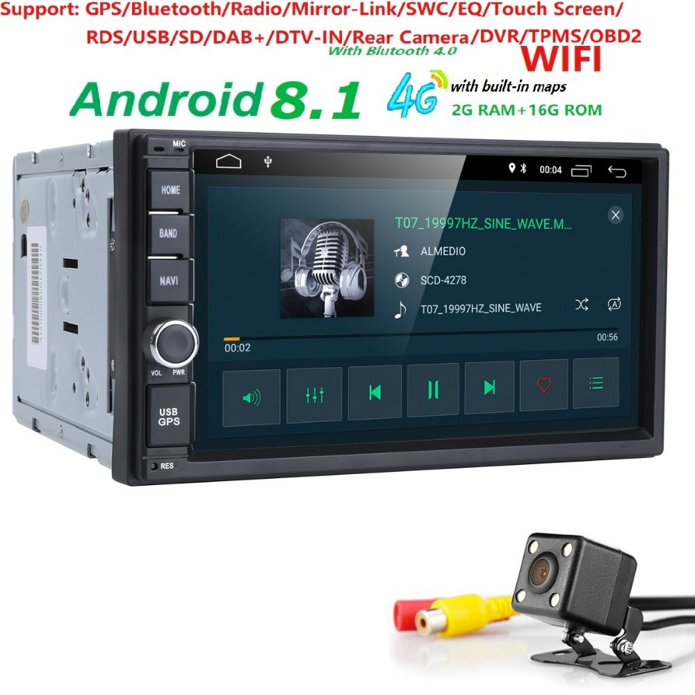 WiFi/4G Quad core 2 din 7 inch android 8.1 Universal Car Player juke qashqai almera x trail note X-TRAIL for Nissan GPS built-in