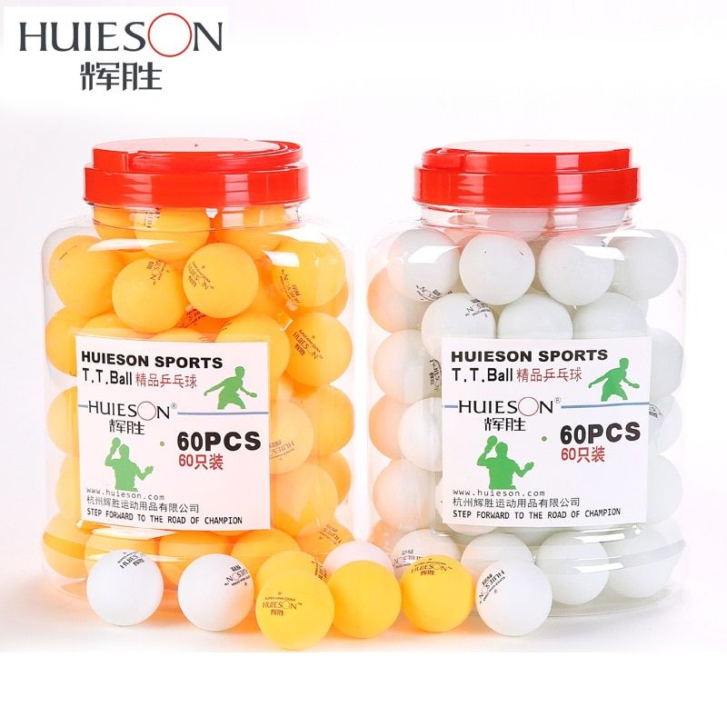 Huieson 60pcs/barrel Professional 3 Star Table Tennis Balls 40mm 2.9g Ping Pong Ball Yellow White for Table Tennis Game Training