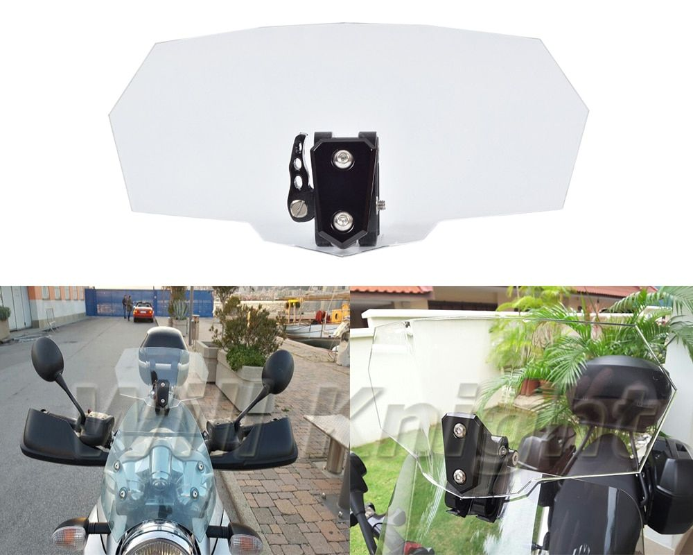 Airflow Adjustable Windscreen Black Aluminum Block For Honda Yamaha Kawasaki Aprilia Harley BMW Transparent Variable Spoiler