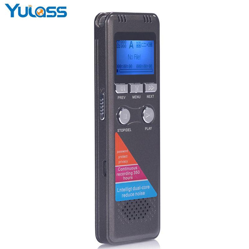 Yulass 8 GB Digital Voice Recorder Professionelle Grau USB 2.0 Multi Sprache Lange aufnahme Ausrüstung Mit WMA/WAV/MP3 Player