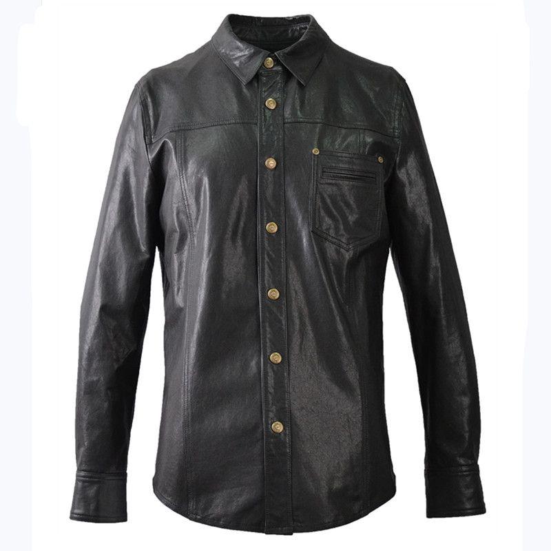 2019 schwarz Männer Mode Casual Leder Hemd Einreiher Plus Größe XXXXL Echtem Dünne Schaffell Natürliche Mantel FREIES VERSCHIFFEN