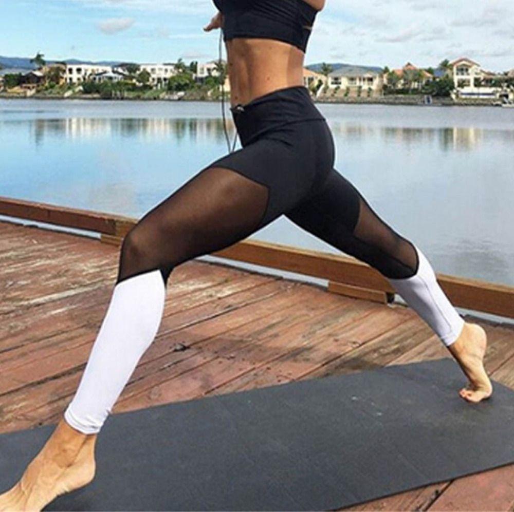 Casual Leggings Femmes Fitness Leggings Couleur Bloc Printemps D'été Workout Pants Nouvelle Arrivée Empiècements En Maille Leggings
