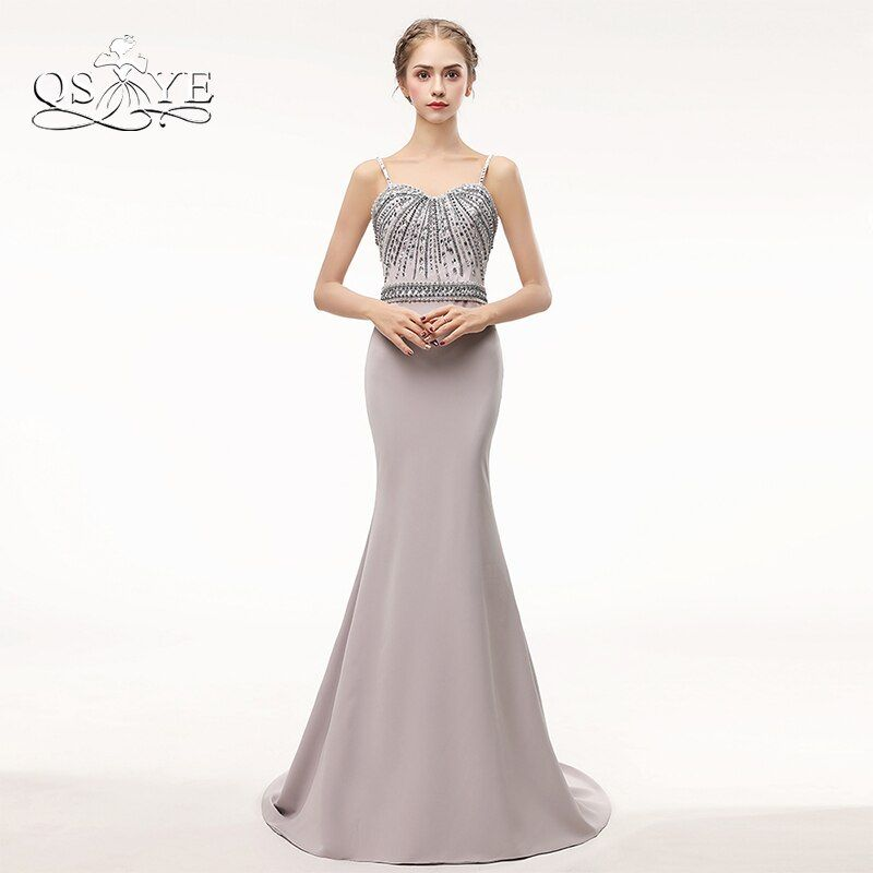Crystal Beaded Long Mermaid Formal Evening Dresses 2017 Robe de Soiree Spaghetti Sweetheart Satin Long Prom Dress Party Gowns