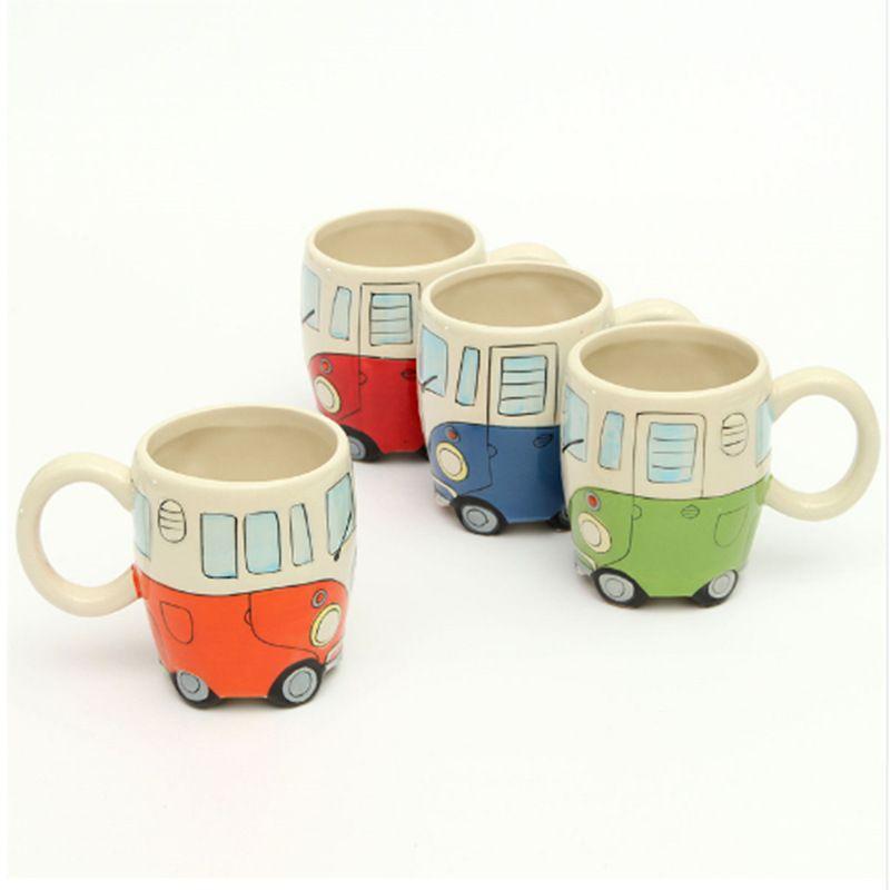 400 ml créatif main peinture Double Bus tasses rétro tasse en céramique café lait thé tasse Drinkware nouveauté cadeaux