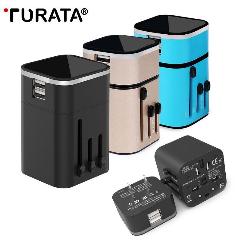 Turata USB Зарядное устройство Универсальный 2-Порты и разъёмы Быстрая зарядка Travel Adapter [EU/US/UK/АС Plug] стены Зарядное устройство для iPhone Samsung Huawei HTC