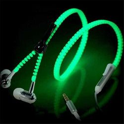 New Fashion Sports Earphones Headset Luminous Light Glow in the Dark Metal Zipper Earphone with Mic for Mobile Phone