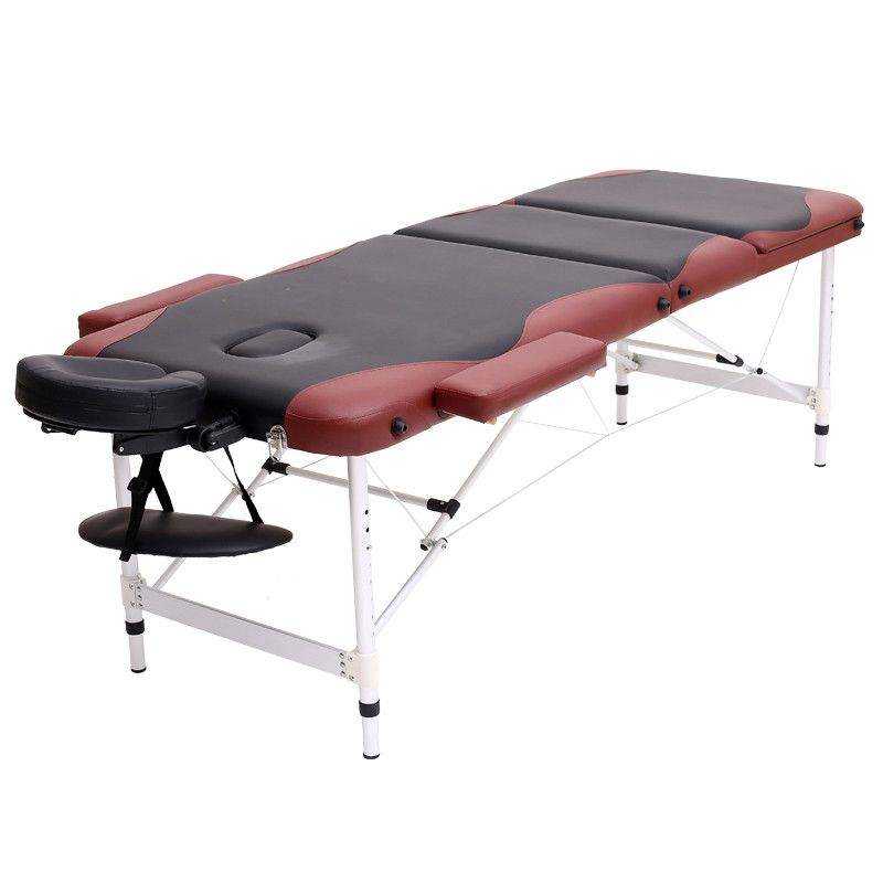 Aluminium 3 Section Massage Bed Portable Salon Furniture Wooden Bed Foldable Beauty Body Facial Spa Tattoo Thai Massage Bed