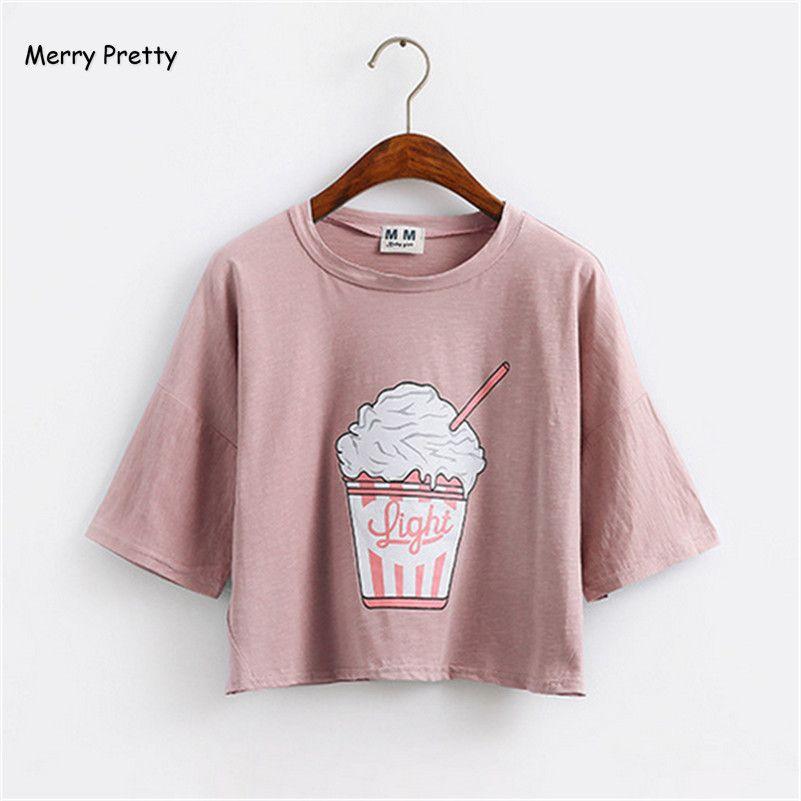 Joyeux Assez 2018 d'été nouvelle Harajuku femmes t-shirt crème glacée Coréenne style coton lâche crop tops kawaii t-shirt femelle tee tops