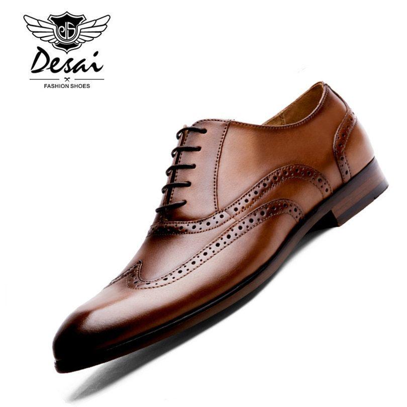 Desai бренд из натуральной нешлифованной кожи Для мужчин Оксфорд Обувь британский стиль ретро bullock деловые мужские модельные туфли размер 38–4...