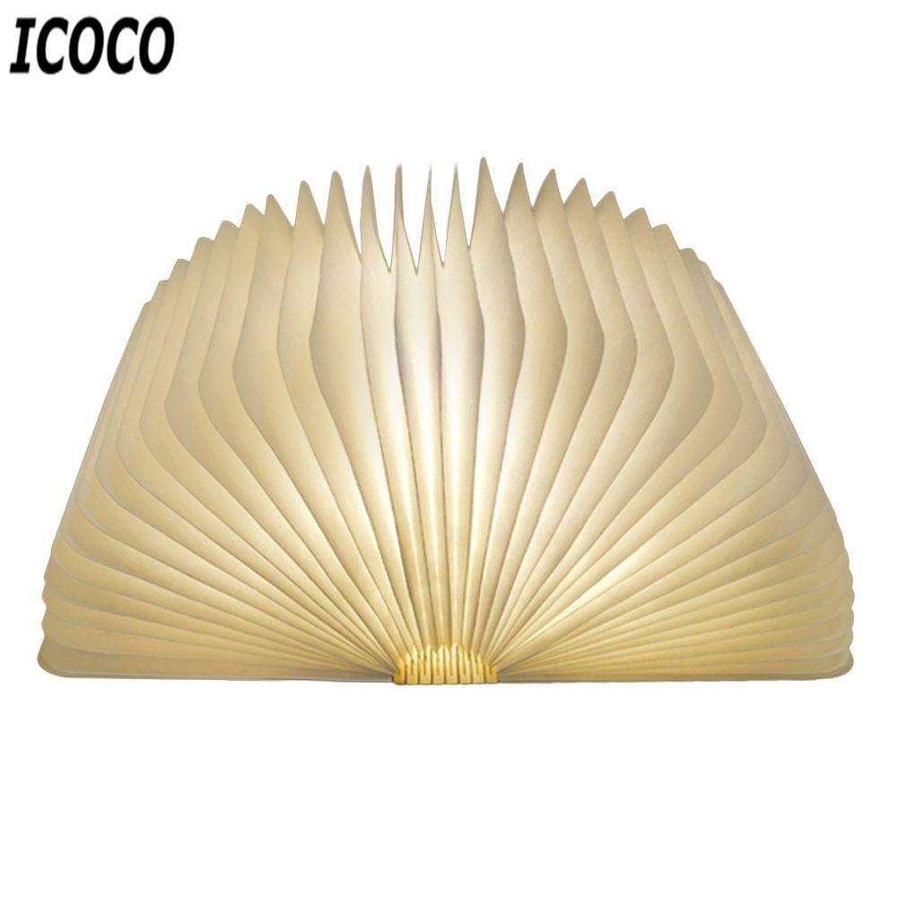 ICOCO Venta Caliente USB Recargable LED Plegable Forma De Libro De Madera Luz de noche Lámpara de Escritorio para el Hogar Dormitorio Decoración de Cumpleaños de Navidad regalo
