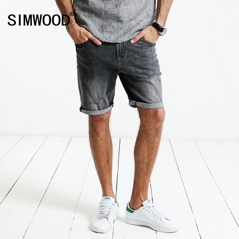 SIMWOOD 2018 Été Nouveau Short En Jean Hommes De Mode Déchiré Marque Vêtements Slim Fit Vintage Genou Longueur Plus La Taille ND017009