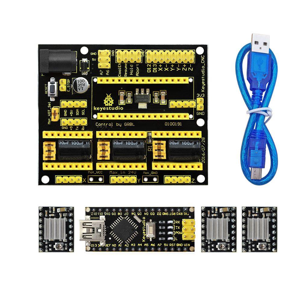 Livraison gratuite! NOUVEAU! Keyestudio CNC bouclier v4 + 3 pcs A4988 pilote + Nano CH340 pour Arduino CNC