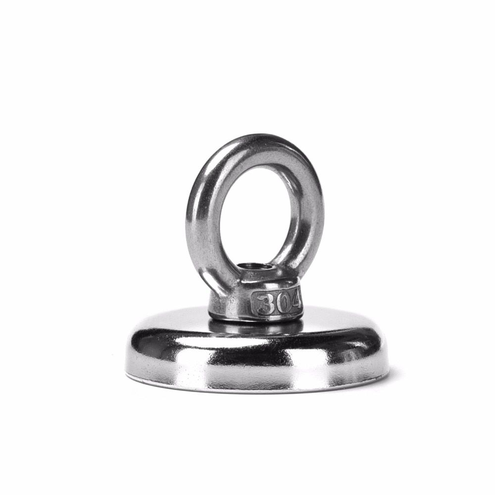 2pcs 68kg Pulling Mounting D42mm strongest powerful neodymium Magnetic Pot with ring fishing gear,deap sea salvage equipmentsD42