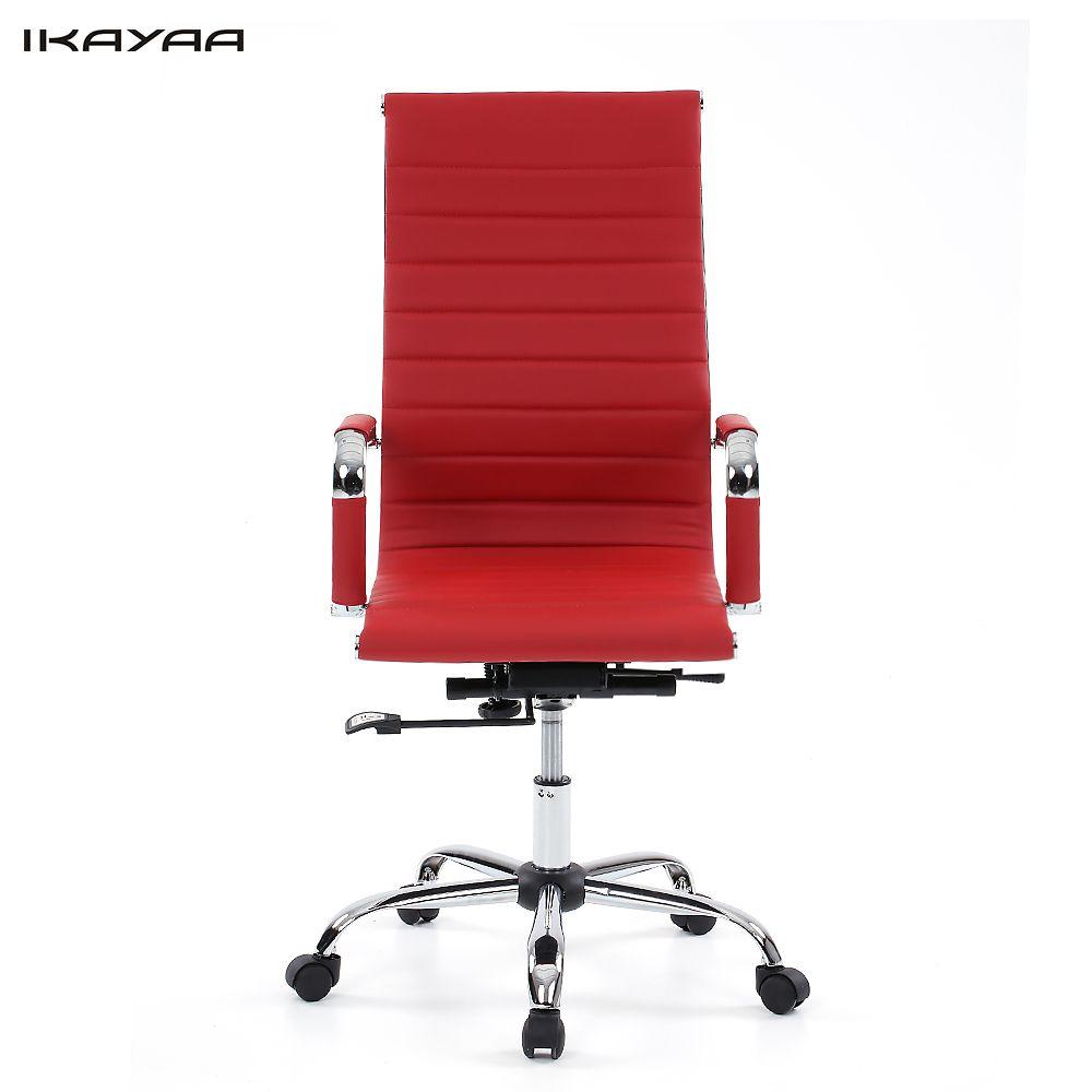 iKayaa DE Stock Luxury Ergonomic PU Office Executive Chair Stool Adjustable Swivel High Back Computer Task Office Furniture