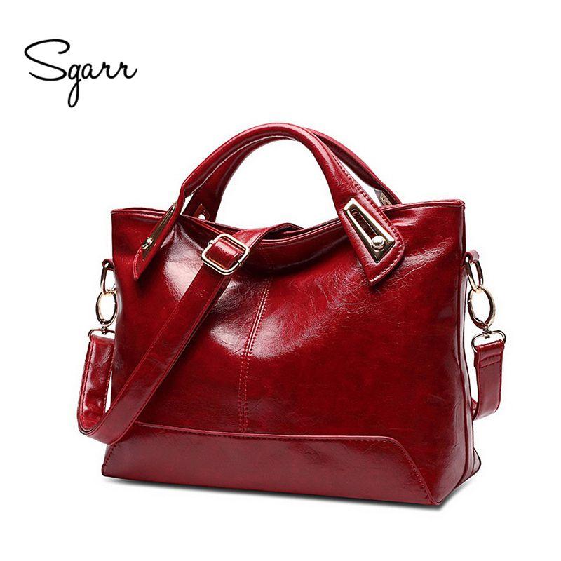 SGARR Neue Öl Wachs Leder Frauen Handtaschen Hochwertige Damen Umhängetaschen Berühmte Marken Großen Capaciry Weiblichen Beiläufigen Einkaufstasche