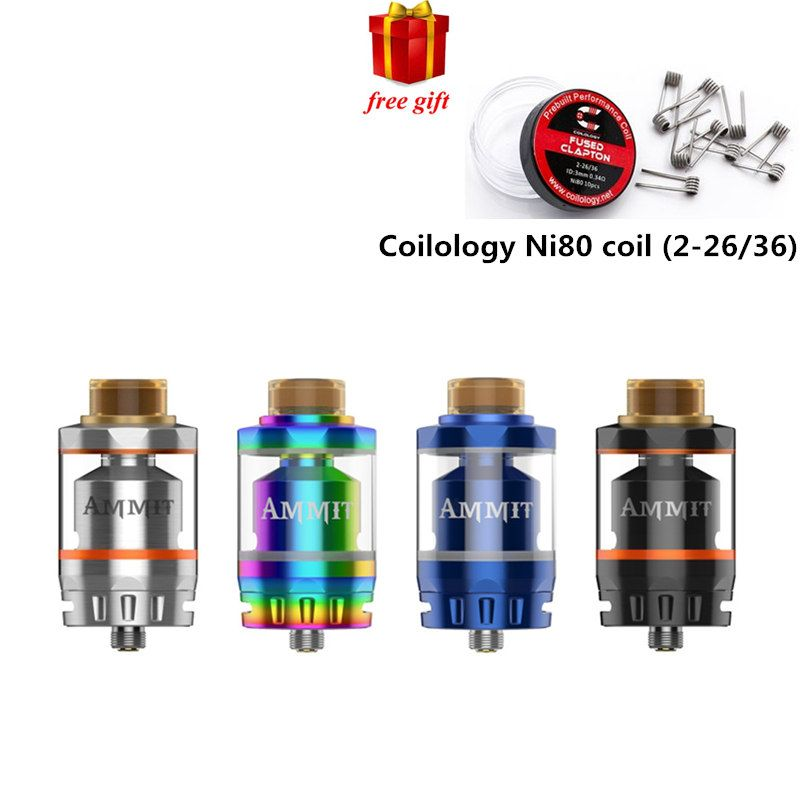 Free gift Geekvape Ammit Dual Coil RTA Tank 3ml/6ml Capacity Support Both Dual and Single Coil Ammit tank For box mod