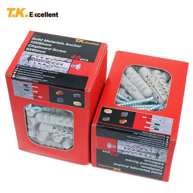 T. K. AUSGEZEICHNETE 2 Box 80 STÜCKE Nylon 66 Anker 10X50 Tippen schrauben Verzinkt Z/P Qualitätsflachstahl Phillips Spanplattenschrauben 6X60