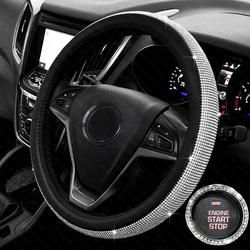 Crystal Rhinestone Car Leather Steering Wheel Covers Cap Steering-Wheel Cover Auto Car Interior Accessories For Women Girls
