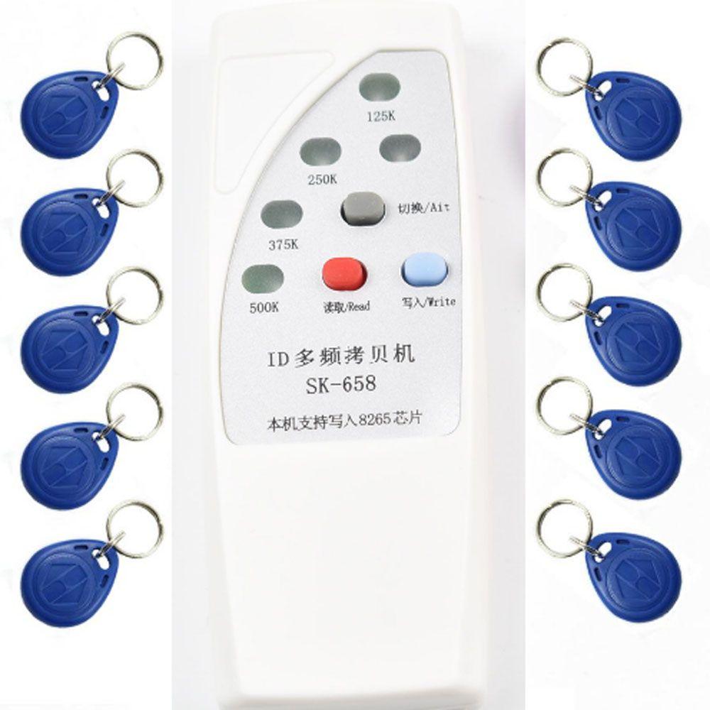 125 Khz, 250 Khz, 375 Khz, 500 Khz RFID Copier Duplicator Cloner ID EM EM4305 t5577 5200 reader writer + 10 stücke EM4305 beschreibbare schlüsselanhänger