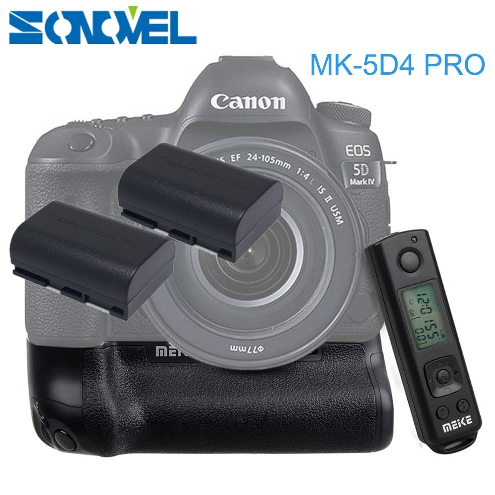 Meike MK-5D4 PRO 2.4G Wireless Remote Control Vertical Battery Grip with 2x LP-E6 Battery for Canon 5D Mark IV Camera as BG-E20