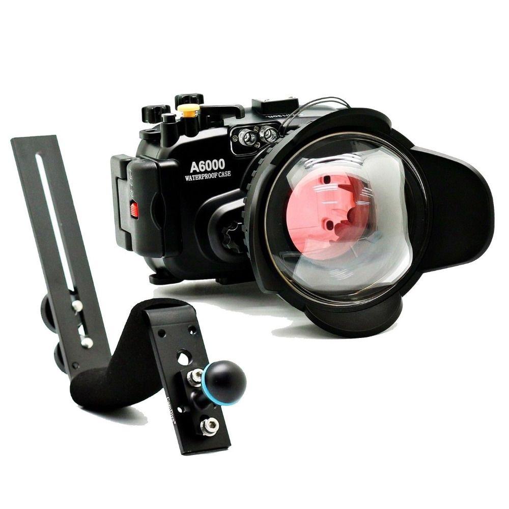 Meikon 40 mt/130ft für Sony A6000 (16-50) Unterwasserkamera Gehäuse + Griff + Weitwinkel Dome port objektiv + 67mm Rot Tauchen Filte