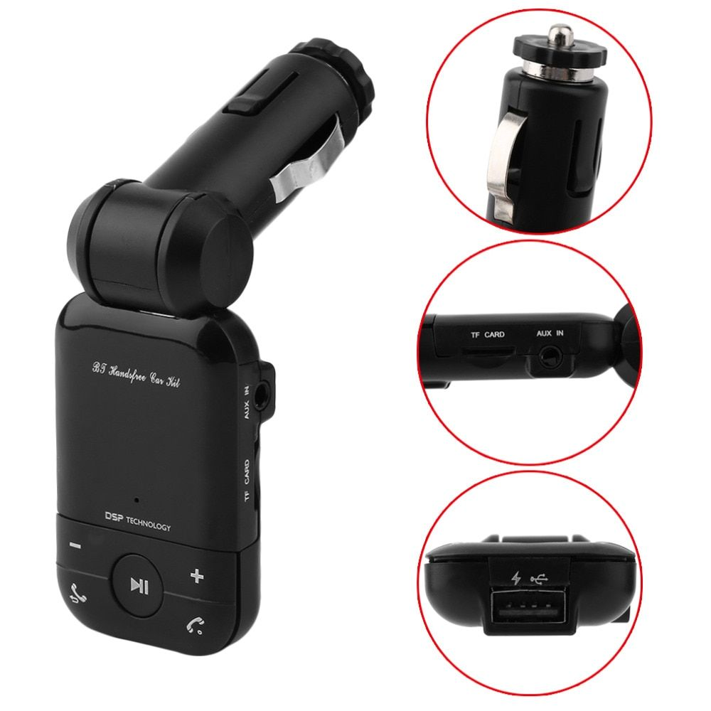 Cimiva Exquisite Appearance Bluetooth Handsfree Auto Car Kit With FM Transmitter & Charger Compact Size Vehicle Bluetooth