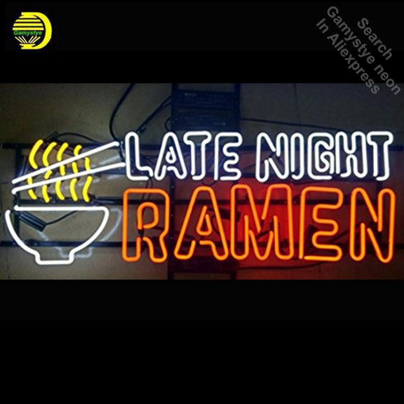 Late Night Ramen Neon Sign Bulb neon signs for sale Real Glass Tube Handcrafted Restaurant custom neon lights light up signs