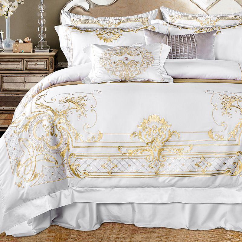 Luxus Weiß Ägyptischer Baumwolle Königlichen Bettwäsche set Golden Gestickte Super König Königin größe Bett blatt set bettbezug Bettwäsche sets