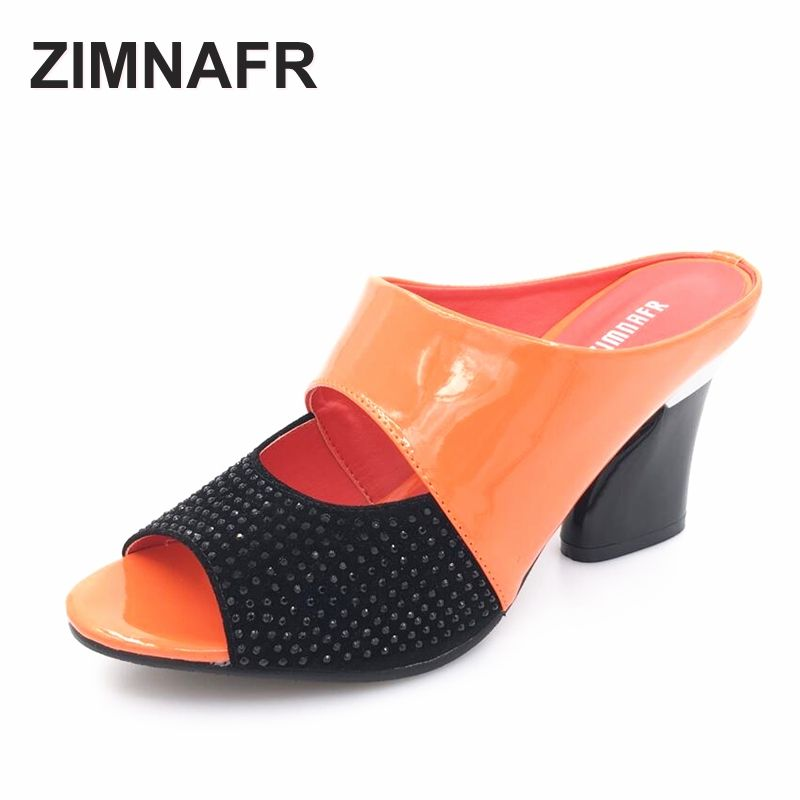 ZIMNAFR brand 2017 hot sale women genuine leather slippers rhinestone thick high-heeled sandals open toe plus szie 34-42