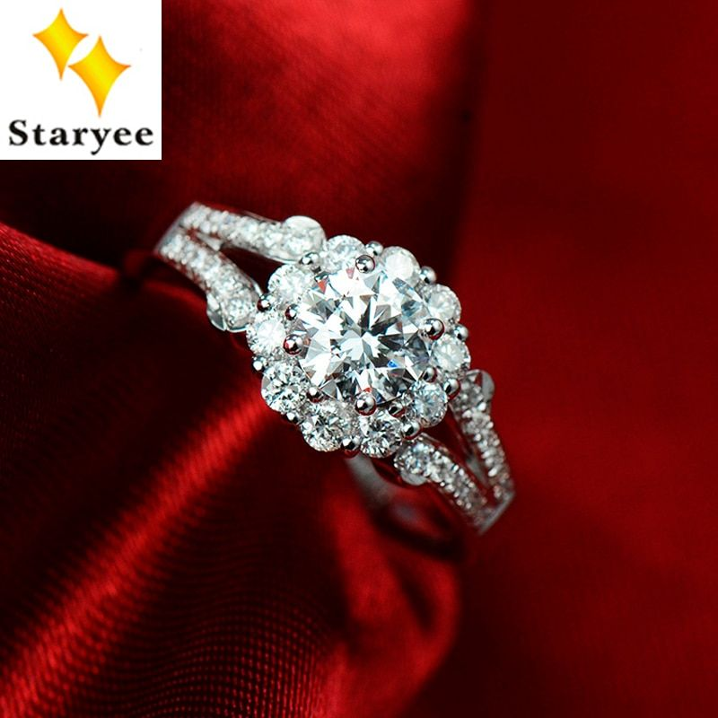 Luxury 3 CT effect Charles Colvard Moissanite Cluster Lady Engagement Wedding Ring Pure 18K 750 White Gold Real Diamond Accents