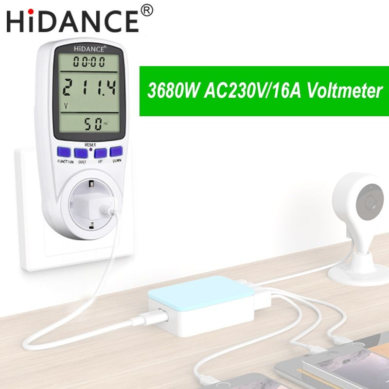 HiDANCE AC power meter 220v digital wattmeter eu energy meter watt monitor electricity consumption Measuring socket <font><b>analyzer</b></font>
