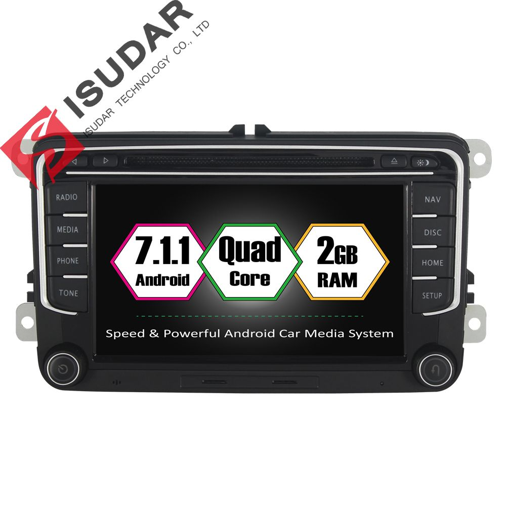 Isudar Car Multimedia Player 2 Din DVD Automotivo For VW/Volkswagen/POLO/PASSAT/Golf/TIGUAN/BORA GPS FM Radio Quad Core RAM 2GB