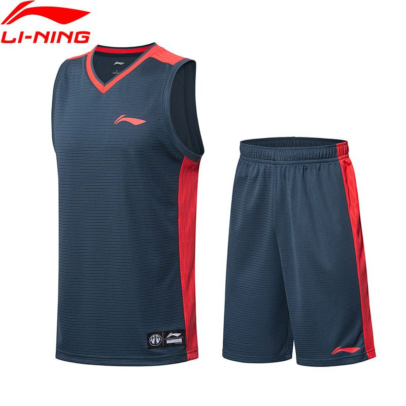 Li-Ning Men Basketball Competition Sets Comfort Breathable Vest + Shorts 2 Pieces LiNing Sports Suits AATN005 MSY172