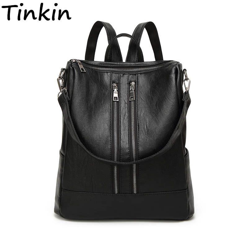 Tinkin PU cuir femmes sac à dos Simple cartable décontracté taille moyenne sac à dos fille quotidien sac Vintage Mochila sac à dos décontracté
