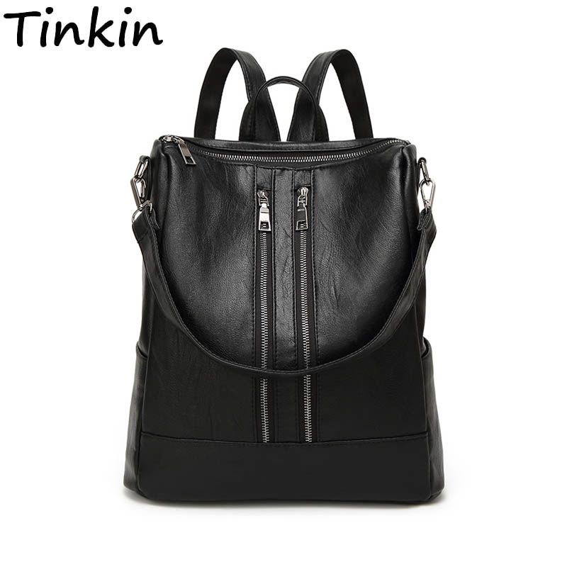 Tinkin PU leather Women <font><b>Backpack</b></font> Simple Casual Schoolbag Medium Size Daypack Girl's Daily Bag Vintage Mochila Casual Rucksack