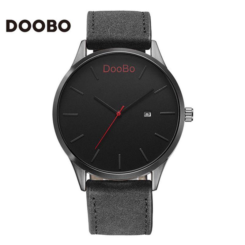 Для мужчин Часы Лидирующий бренд роскошные часы Для мужчин doobo модные часы кожаный Для мужчин кварцевые-часы наручные часы Relógio masculino