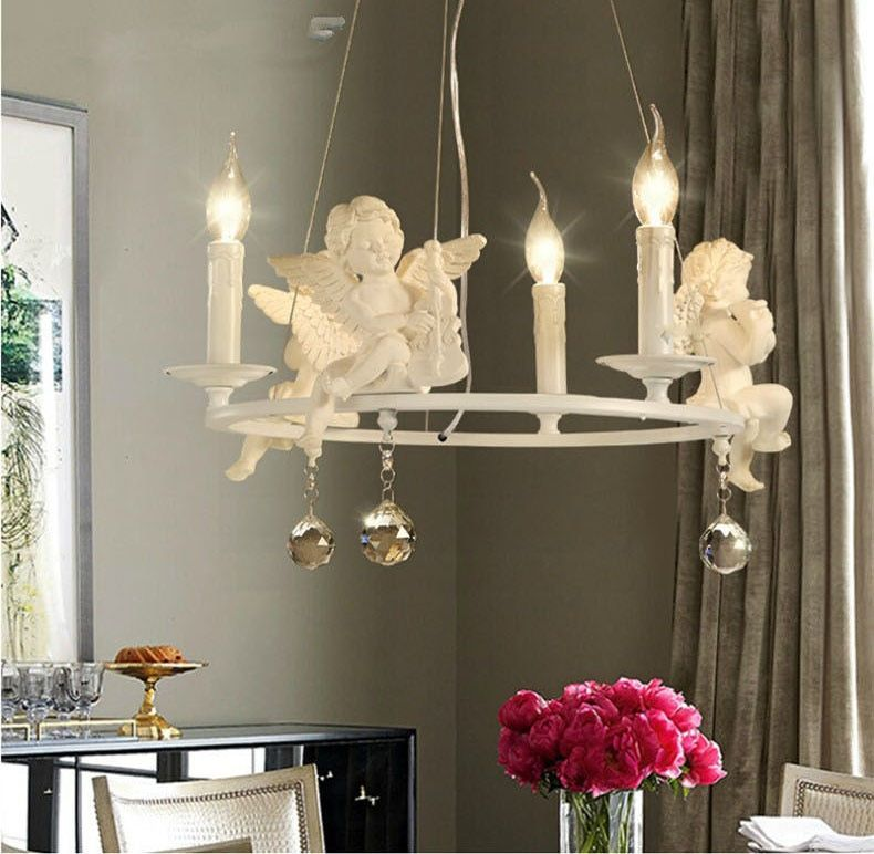 Modern Lamps lustre Lighting Led Pendant Creative Crystal Chandeliers With The Angel For Living Room Light