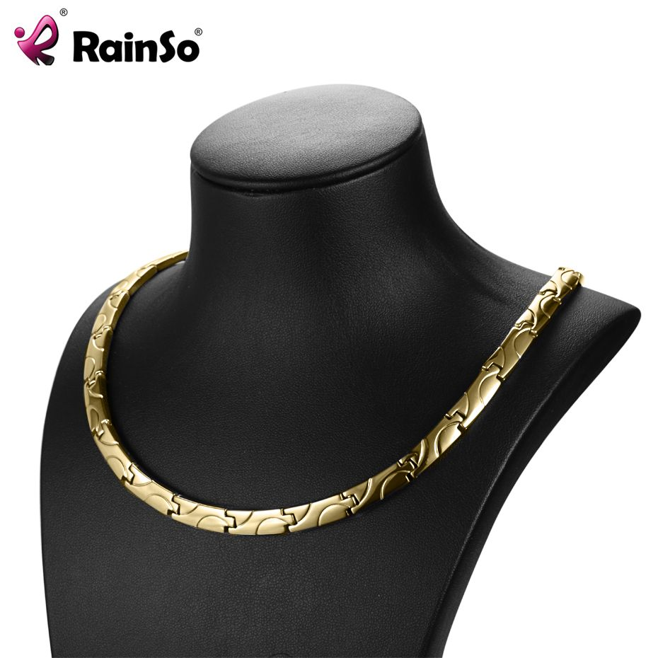 RainSo Magnetic Necklaces Health Benefits for arthritis Bio Energy Healing Titanium Power Necklace for Women Link Chain Necklace