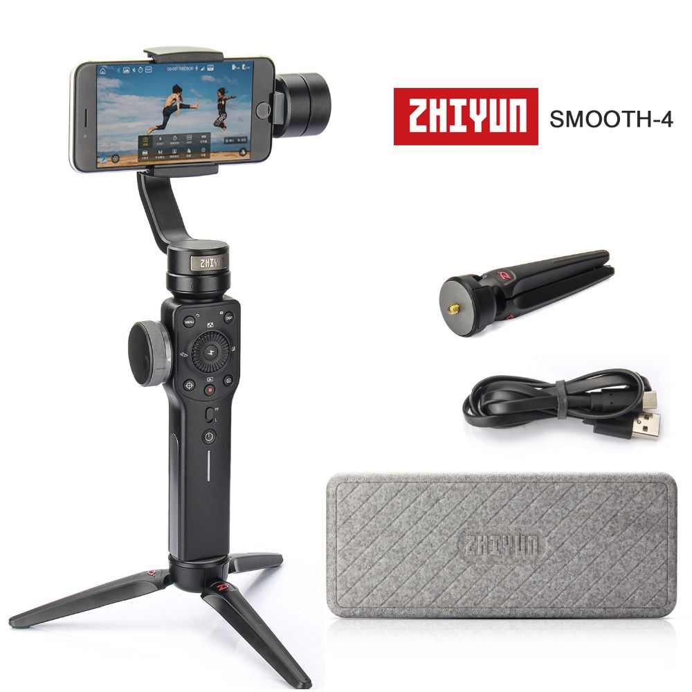 Zhiyun Smooth 4 3-Axis Focus Pull & Zoom Capability Handheld Gimbal Stabilizer for iPhone X 8 7 Plus Samsung S8+ S8 S7 Black